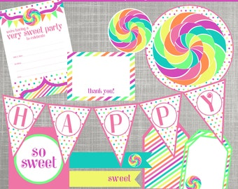 Sweet Shop Birthday Party Decorations - Candyland Decorations - PRINTABLE / DIY - Lollipops & Polka Dots Collection