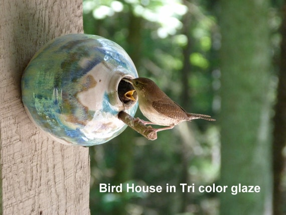 Pottery Birdhouse  bottle for wrens finches and chickadees  In Tricolor Glaze** Ready to ship!!