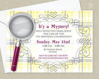 Girls Spy Birthday Invitation - Mystery Birthday Party Invitation - Detective Birthday Invitation