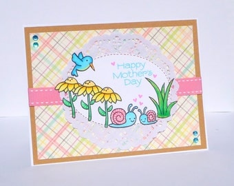 Happy Mothers Day Greeting Card - Handmade Paper Card for Her - Mom, Grandmother, Aunt, Sister, Friend