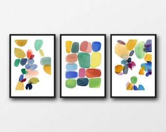 Abstract watercolor paintings, Colorful wall art, set of 3 watercolor prints red green blue yellow