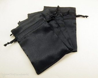 5 4x6 Black Satin Bags with Drawstrings - Wedding Favor Bags, Sachets, Gift Bags, Jewelry Bags