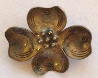 Vintage Little Sterling Flower Brooch