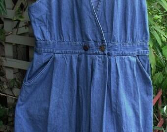 Denim Jumper/ Retro Plus Size Wrap Style Denim Dress/ Funky, Washed, Faded, Vintage Jumper/ Shabbyfab Retro Clothing