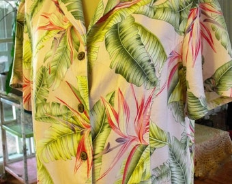 Retro/Tropical Print/Shirt/Jacket/Vintage Rayon/Size Large/Label Sugar Reef Clothing Co.