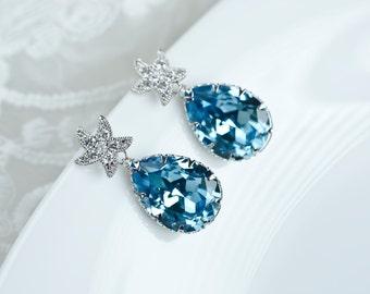 Starfish Earrings,Bridal Earrings,Aquamarine Earrings,Bridesmaids Earrings,Swarovski Aquamarine Crystal and Cubic Zirconia Starfish Earrings