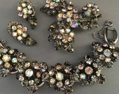 Vintage Juliana Rhinestone Bracelet Set Demi Parure Bracelet Brooch Earrings Grey Black Diamond Rhinestone wedding gifts bridal formal sets