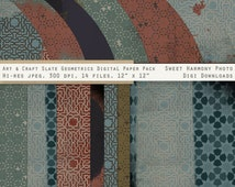 Digital Download - Blue Tan Coral Shabby Blender - 12 x 12, 14  paper files - organic geometric print - urban grunge artistic - scrapbook