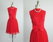 Be My Valentine Dress // Vintage 1960's Red Pleated Chiffon Designer Cocktail Party Dress