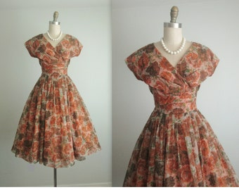 50's Chiffon Dress // Vintage 1950's Brown Floral Print Chiffon Garden Cocktail Party Prom Dress M