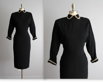 40's Dress // Vintage 1940's Black Rayon Casual Swing Day Dress S