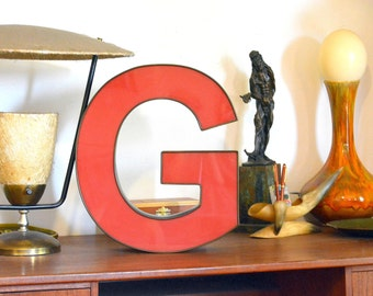 Vintage Marquee Sign Letter Capital 'G': Large Pomegranate Red Wall Hanging Initial -- Industrial Neon Channel Advertising Salvage