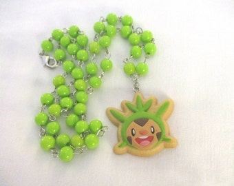 "Pokémon Necklace - CHESPIN - ""Cookie"" TOMY Figure Face Necklace - Pokemon GO"
