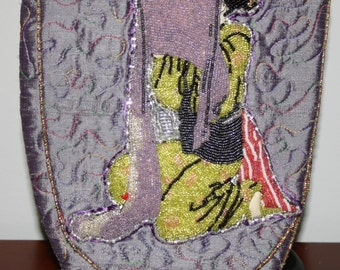 Hand Beaded Purse Geisha Collection  Green on Orchid Silk Dupioni