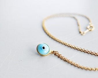 14K Gold Filled,  Aqua Blue, Evil Eye Necklace, Protection, Nazar Necklace, Turkish Jewelry, Mal de Ojo, Protection, Turquoise, Good Fortune