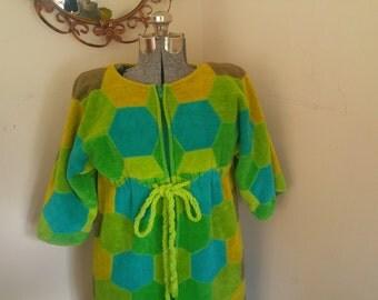 Vintage Green Robe Vintage Towel Robe Housecoat