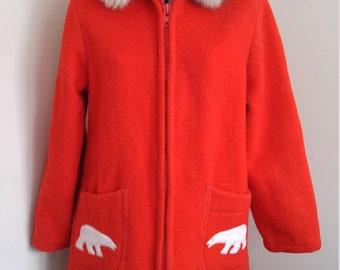 Vintage Inuit Coat Wool  Inuit Coat In Red