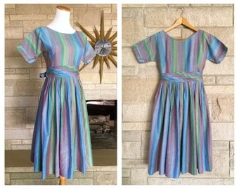 1950s Striped Dress * Chambray Cotton * Gathered Full Skirt * Women's Size Extra Small