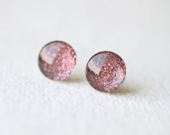 Plum Glitter Glass Stud Earrings, Sparkle earrings, surgical steel studs BUY 2 GET 1 FREE