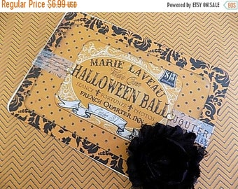 Halloween Embellished Card - Blank Greeting - Orange Black