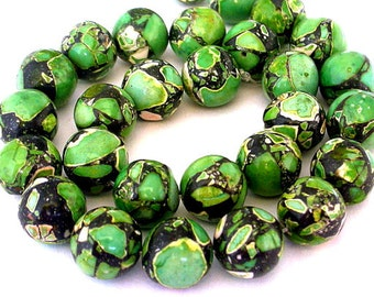 12 green mosaic magnesite beads, 12mm green magnesite, green and black 12mm beads
