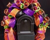 Halloween Mailbox Rail, Halloween Decor, Black Orange Purple Mailbox Rail
