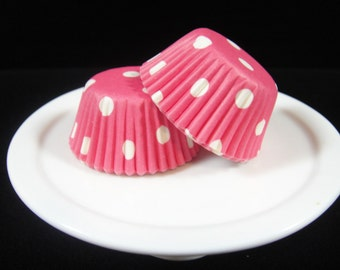 Rose Pink Polka Dot Mini Cupcake Liners, Mini Baking Cups, Mini Muffin Papers, Mini Candy Paper, Cake Pop Papers, Truffle Cases  - QTY. 25