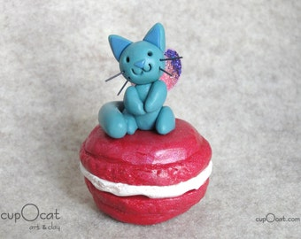 Macaron Kitty Fairy - A denim blue fairy cat with purple and pink wings - polymer clay cat figure, kitty figurine, cat gift, sweets kitty