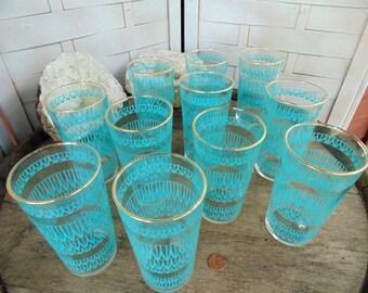 1950s. WATER GLASSES. Drinking Glasses. Blue Swirl Design. Large set. 11. glass tumblers. Mid Century Kitchen. vintage glasses. Gold Rim.