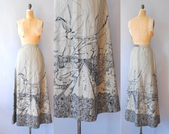 1970s Maxi Skirt / Town & Country Skirt / 70s