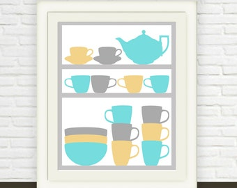 Kitchen Art // Teapot and Cups // Instant JPEG Download // Kitchen Wall Art  // Blue grey and yellow Kitchen Print Printable