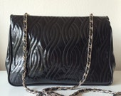 Black Vinyl purse with gold chain straps 80s style