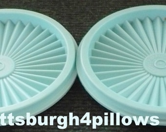 2 - Tupperware - Turquoise - 812 -  5 In. - Servalier Lids - Great Condition - Price Is For All - Read Below