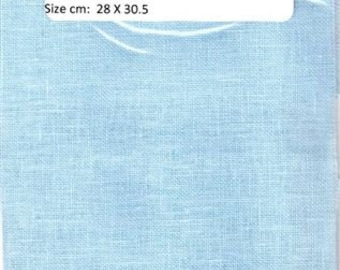 GT125 - Zweigart, Belfast Linen , 32 Count, Ice Blue , 11 X 12  inches ,28 X 30cm, Cut Fabric Collection
