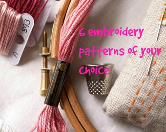 6 embroidery patterns of your choice