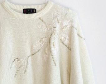 Vintage 80s Off White Sweater with Beaded Flowers / Floral Pearl Bead Sweater