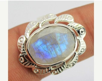 VALENTINE SALE 55% Blue Rainbow Moonstone Sterling Silver Ring 1618RG