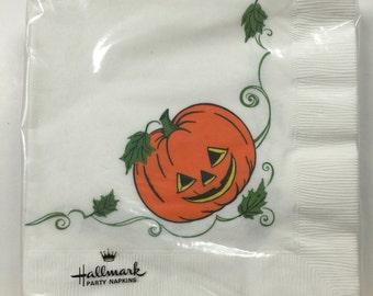 Vintage Halloween Paper Napkins Jack-o-Lantern Pumpkin