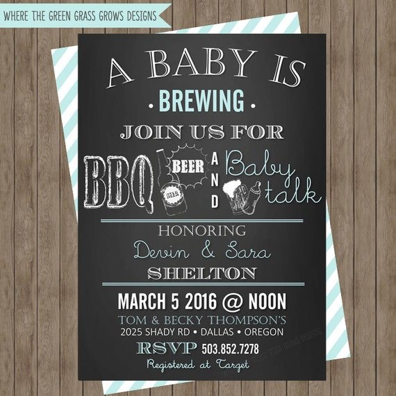 BBQ Beer and Baby Talk Baby Shower Invitations