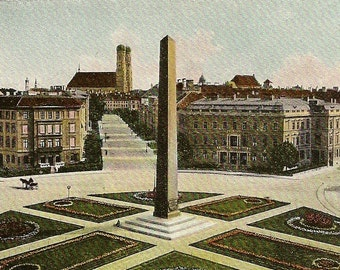 Antique Postcard Obelisk Munich Germany – Munchen Karolinenplatz UDB Unused Postcard