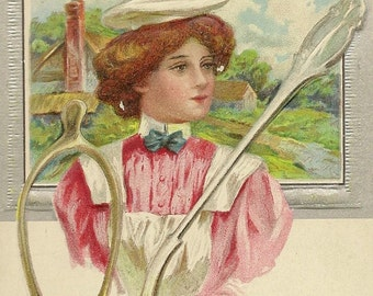 Vintage Good Luck Postcard – Maid with Lucky Wishbone and Silver Spoon