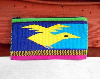 Vintage NeonEthnic Boho Wallet Hippie Yellow Bird Guatemalan Coin Purse