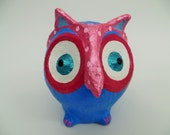 owl sculpture,paper mache owl,art owl,blue pink owl,home decor,eco friendly