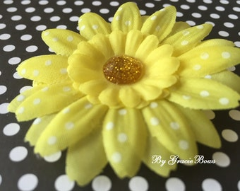Small Yellow and White Swiss Dot Daisy Hair Clip