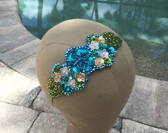 Turquoise and Green Beaded Floral Swarovski Crystal Dancer Costume Headband
