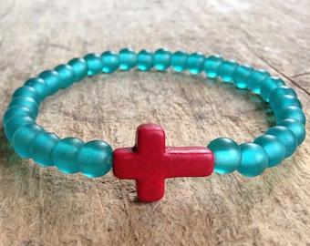 Cross Bracelet, Red Cross Bracelet, Teal Beaded Stretch Bracelet, Sideways Cross, StackBracelet, Bohemian Bracelet, Bohemian Jewelry