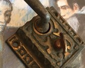 Old Ornate Latch - Ornate Hardware DIY Altered Art Restoration Embellishment - Patent 1891
