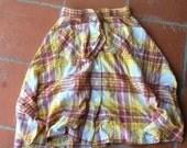 Plaid Thin Cotton Button Front Boho Festival Skirt POCKETS