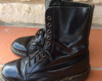 Black ten hole Dr Martins Boots