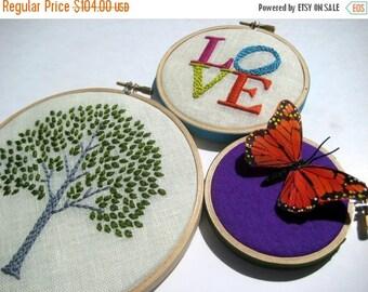 Christmas in July Sale Tree. Love. Butterfly. hand embroidered. hoop art. home decor. wall wear. housewarming gift. wedding gift. nursery. e